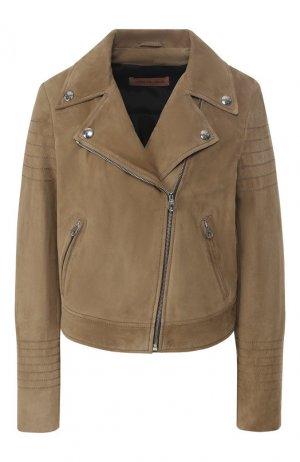Кожаная куртка Yves Salomon. Цвет: бежевый