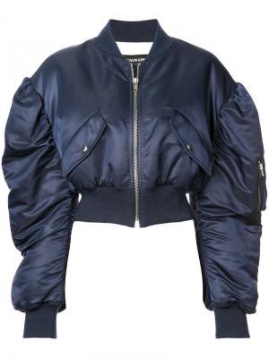 Куртка-бомбер со сборками на рукавах Calvin Klein 205W39nyc. Цвет: синий