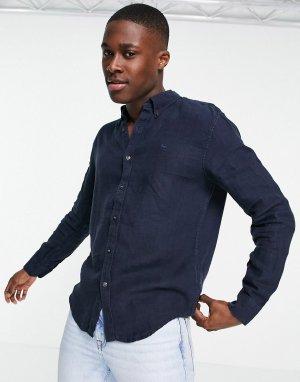 Темно-синяя льняная рубашка с логотипом -Темно-синий Abercrombie & Fitch
