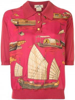 Рубашка поло с принтом Hermès. Цвет: красный