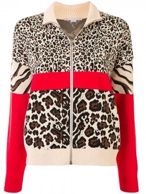 Куртка-бомбер с анималистичным принтом Stella McCartney. Цвет: коричневый