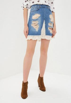 Юбка джинсовая Silvian Heach. Цвет: голубой
