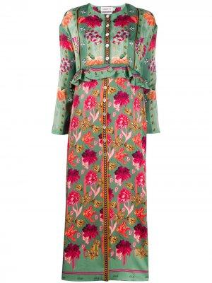 Платье Tigerlilly с цветочным принтом Liberty London. Цвет: зеленый