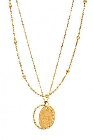 Двойное золотистое колье с подвесками Aqua. Цвет: золотой