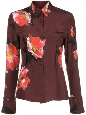 Рубашка с цветочным принтом и длинными рукавами Altuzarra. Цвет: красный