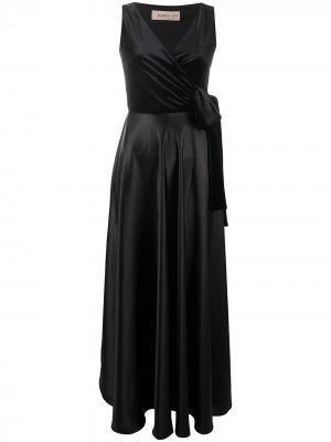 Длинное двухцветное платье с запахом Blanca Vita. Цвет: черный