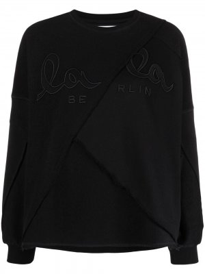 Деконструированная толстовка с вышитым логотипом Lala Berlin. Цвет: черный