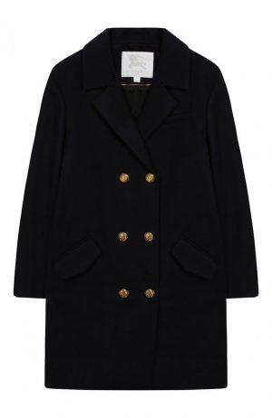 Шерстяное пальто Burberry. Цвет: темно-синий