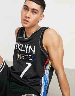 Черная баскетбольная майка команды Brooklyn Nets NBA Swingman-Черный цвет Nike Basketball