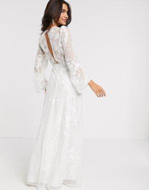 Свадебное платье с пышными рукавами на манжете и вышивкой -Белый ASOS EDITION