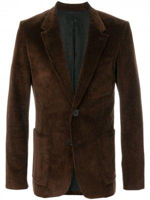 Вельветовый пиджак на две пуговицы AMI Paris. Цвет: коричневый