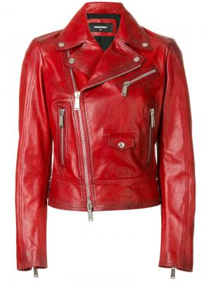 Байкерская куртка Kiodo Dsquared2. Цвет: красный