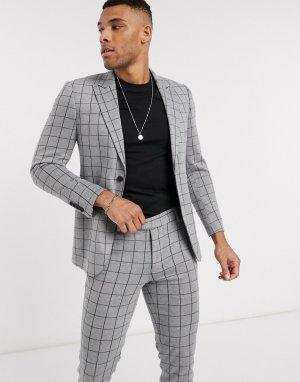 Серый пиджак в клетку Only & Sons