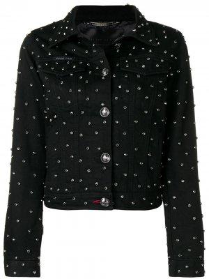 Джинсовая куртка с отделкой кристаллами Philipp Plein. Цвет: черный