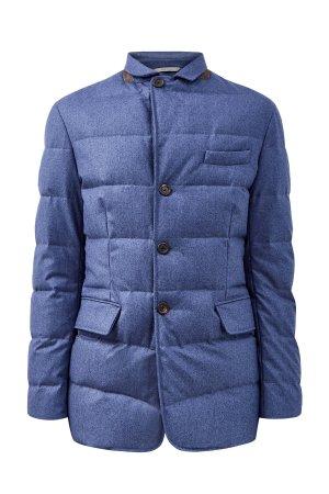 Пуховик-блейзер из шерстяной ткани Rain Protection CANALI. Цвет: голубой