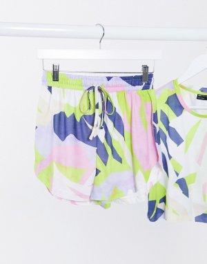 Трикотажные пляжные шорты с абстрактным неоновым принтом -Мульти ASOS DESIGN