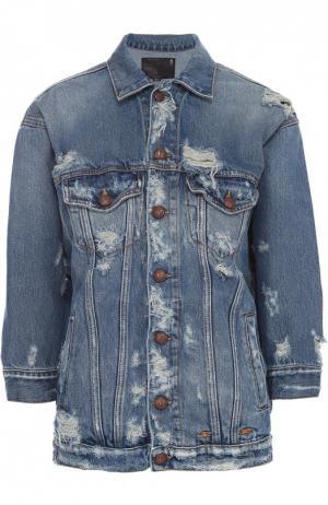 Джинсовая куртка с укороченным рукавом и потертостями R13. Цвет: синий