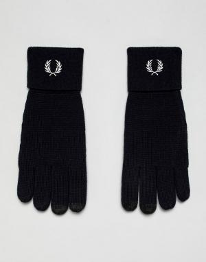 Темно-синие перчатки из мериносовой шерсти с логотипом Fred Perry. Цвет: темно-синий
