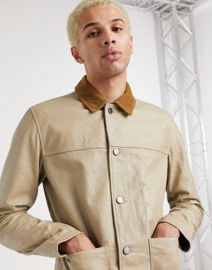 Кожаная куртка с контрастным воротником -Бежевый ASOS DESIGN