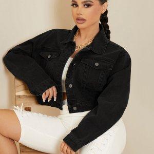 Короткая джинсовая куртка с карманами клапанами и застежкой на пуговицы SHEIN. Цвет: чёрный