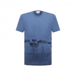 Хлопковая футболка Brioni. Цвет: синий