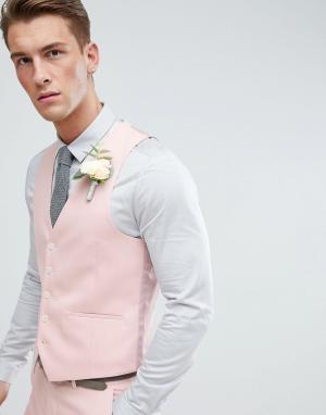 Светло-розовый жилет скинни Moss London Wedding BROS. Цвет: розовый