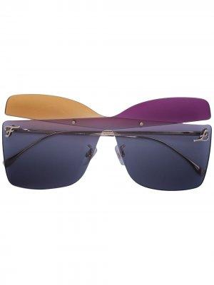 Массивные солнцезащитные очки Fendi Eyewear. Цвет: разноцветный