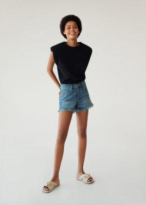 Джинсовые шорты с бахромой по низу - Hailey Mango. Цвет: синий средний