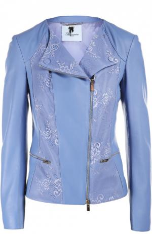 Кожаная куртка Blumarine. Цвет: голубой