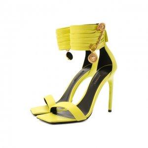 Кожаные босоножки Safety Pin Versace. Цвет: зелёный