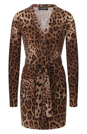 Шерстяной кардиган Dolce & Gabbana. Цвет: леопардовый