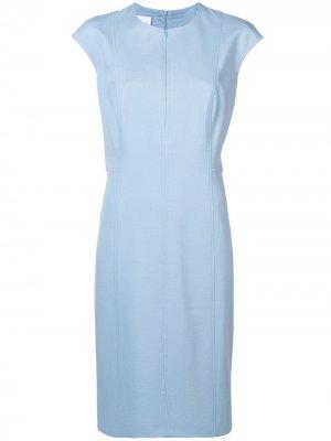 Приталенное платье миди Akris Punto. Цвет: синий