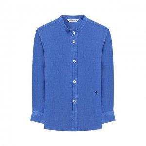 Рубашка из льна и хлопка Manuel Ritz. Цвет: синий