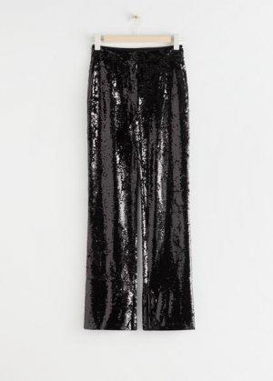 Зауженные брюки с пайетками и застежкой-молнией на манжетах штанин &Other Stories. Цвет: черный