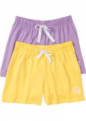 Шорты пижамные (2 шт.) bonprix. Цвет: желтый