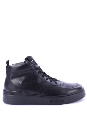 Кожаные кроссовки Alberto Guardiani. Цвет: черный