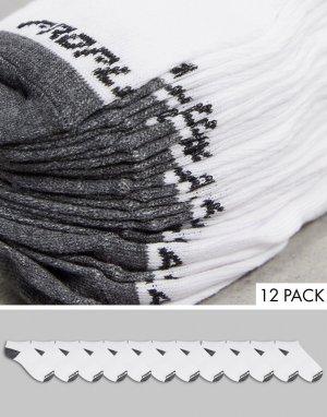 Набор из 12 пар спортивных уплотненных носков с низким задником бело-серого цвета -Белый Pro Player