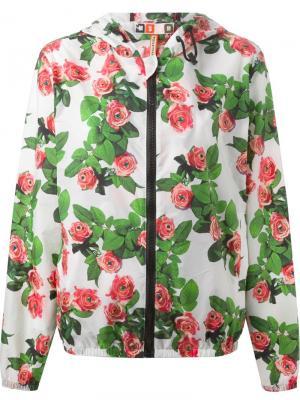 Куртка-ветровка с принтом роз MSGM. Цвет: белый