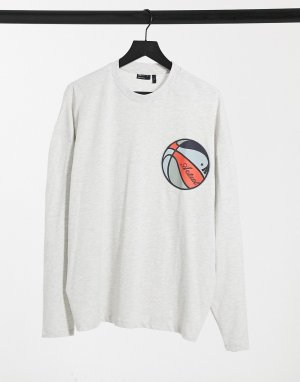Белый меланжевый oversize-лонгслив в с баскетбольным принтом ASOS Actual