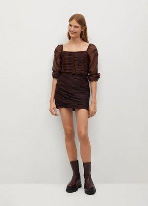Мини-юбка из шифона с принтом - Sophie Mango. Цвет: коричневый
