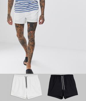 Набор из 2 шортов для плавания со скидкой черного и белого цвета -Многоцветный ASOS DESIGN