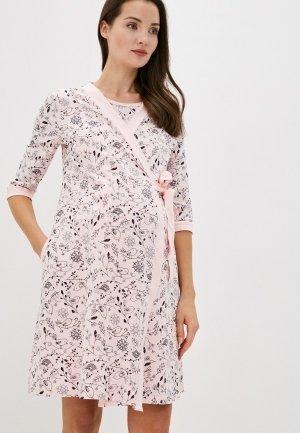 Халат и сорочка ночная Hunny mammy. Цвет: розовый