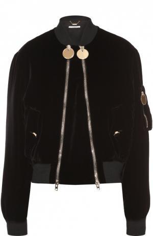 Бархатный укороченный бомбер на косых молниях Givenchy. Цвет: черный
