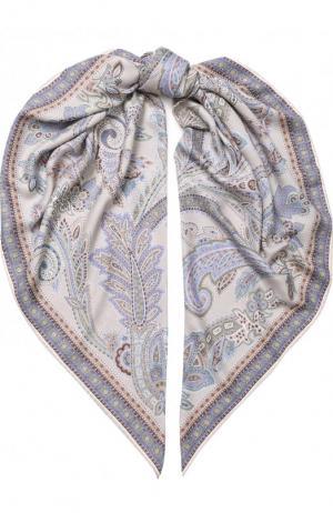 Платок из смеси кашемира и шелка с принтом Michele Binda. Цвет: бежевый