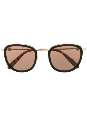 Солнцезащитные очки в массивной оправе Moncler Eyewear. Цвет: коричневый