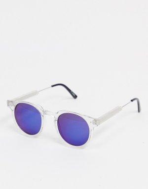 Круглые солнцезащитные очки унисекс в прозрачной оправе и с синими зеркальными стеклами Teddy Boy-Очистить Spitfire