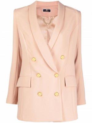 Double-breasted blazer Elisabetta Franchi. Цвет: коричневый