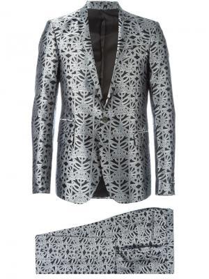 Жаккардовый костюм-двойка с геометрическим узором Les Hommes. Цвет: серый
