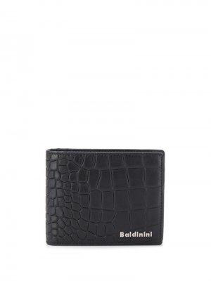 Бумажник с тиснением под крокодила Baldinini. Цвет: черный