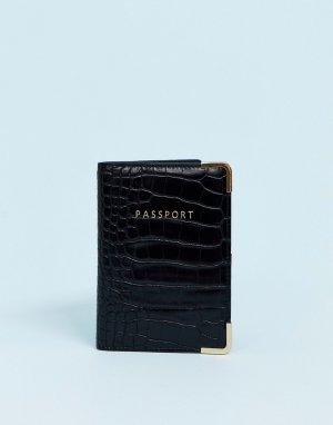Обложка для паспорта с эффектом крокодиловой кожи -Черный ASOS DESIGN
